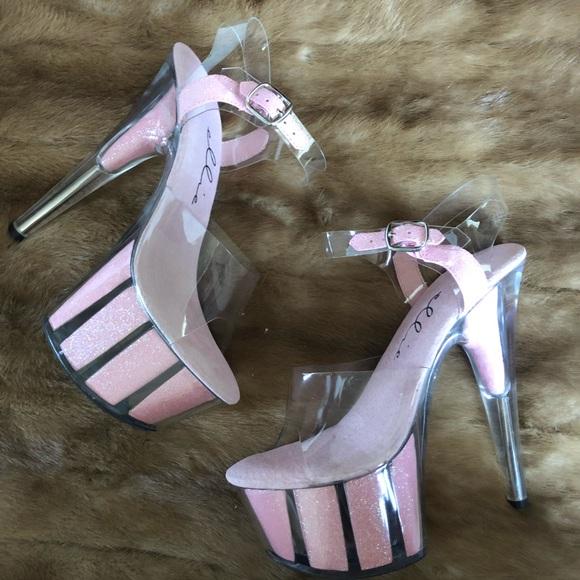 9c2e0e0d070 Glitter clear Transparent Heels Ankle Strap bling